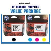 Cartridge / Tinta HP 680 Black & 680 Color/Colour Paket Original New
