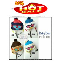 Promo NEW MOTIF! Topi Pilot Baby Bear/ Pilot Hat Bayi Anak