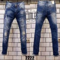 Celana Panjang Guess Premium Jeans Blue Washed Ripped Slim Fit