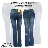 Celana Jeans Wanita Cutbray Motif