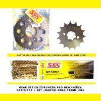 GEAR SET CB150R/VERZA 14/46+RANTAI GOLD SSS