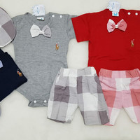 Baju Anak Bayi Laki laki Jumper Tuxedo Pesta Kondangan Polo Set Topi
