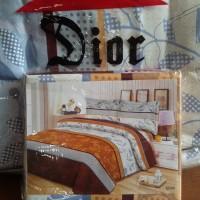 Bedcover set sprei cantik putih brown lembut Dior 180 x 200