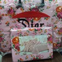Bedcover set sprei cantik putih bunga pink lembut Dior 180 x 200