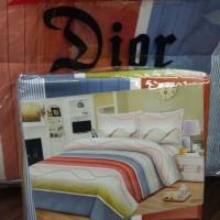 Bedcover set sprei cantik putih biru lembut Dior 180 x 200