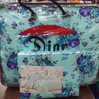 Bedcover set sprei cantik putih bunga biru Dior 180 x 200