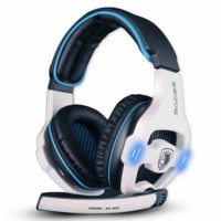 Headset Sades SA-903 USB Gaming 7.1 Sound putih hitam