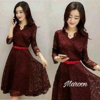 Dress sabby brukat/midi dress/dress natal murah/dress pesta/baju murah