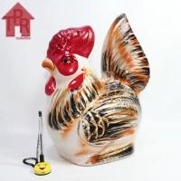 Celengan ayam jago tradisional orange gold - M