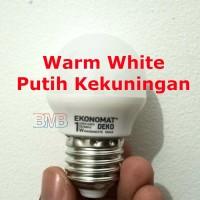 PUTIH KEKUNINGAN EKONOMAT Lampu Tidur LED 1 watt Bulb E27 1watt 1w