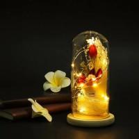 Beauty and the Beast Lampu LED Lily dalam Gelas Gift Kado Valentine