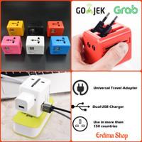 Universal Travel Adaptor Multi Soket dengan 2 Port USB Charger 2.1 A