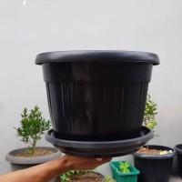 pot bunga plastik hitam GRACE 35cm kuping+tatakan bawah