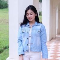 NEW Jaket Jeans Wanita Light Blue Zarra Jacket Merek Benefit Import B