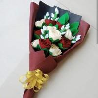 Buket Bunga Mawar Flanel Untuk hadiah wisuda, ultah, anniv, dll