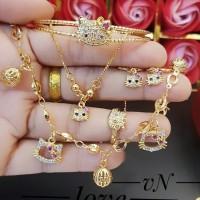 xuping set perhiasan anak kalung gelang cincin lapis emas 24k 2142