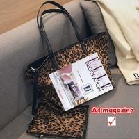 Tas Wanita promo Burminsa Winte Leopard 2 Sets Dompet dan Perempuan