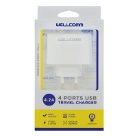 Wellcomm Travel Charger 4.2A USB 4 SLOT Pure Output ORIGINAL