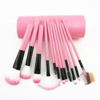 Kuas Make Up 12 in 1 Tabung Oval - Pink Makeup Brush Set ORI IMPORT