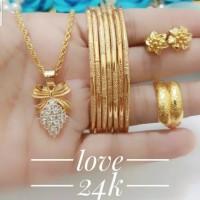 xuping set perhiasan kalung gelang cincin anting lapis emas 24k 2201