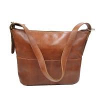[L] Shoulder tote bag wanita kulit sapi asli coklat muda vintage murah