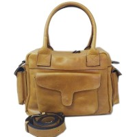 [L] Premium tas jinjing wanita kulit sapi asli mustard pocket keren