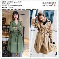 Baju Long Cardigan Coat Blazer Wanita Korea Import AB548350 Army Green