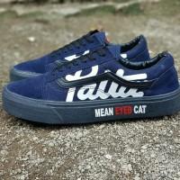 Sepatu sneakers casual vans old skool x patta mean eyed cat navy hitam