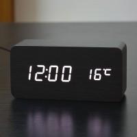 Jam Alarm LED Wood Kayu Digital- Black White