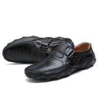 HKIMDL Pria Asli Kulit Sapi Bernapas Sepatu Bisnis Kasu Berkualitas