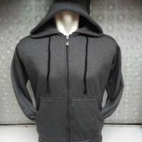 (PROMO) Jaket Hoodie Zipper Resleting Polos Abu-Abu Tua - Dark Grey