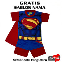 BAJU ANAK/KOSTUM SUPERMAN/KAOS SETELAN SUPERHERO SUPERMAN/BATMAN