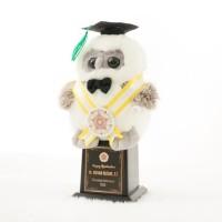 Piala Boneka Wisuda OWL bisa Request Nama dan Logo Kado Wisudaku - Tanpa Tile