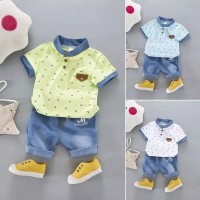 Setelan Bayi-Anak Laki-Laki Import + Celana Motif Denim