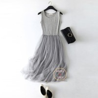 Dress tutu cantik / Dress pesta / Lace Dress / Midi dress grey