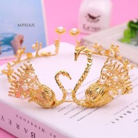 Mahkota Emas Pengantin Modern l Aksesoris Crown Rambut Wedding- MPE005