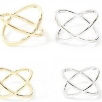 Diskon JCI010 cincin silang / hollow female X crossover ring