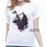 Promo Kaos Wanita - Tumblr Tee Lengan Pendek Indian Girl - Putih