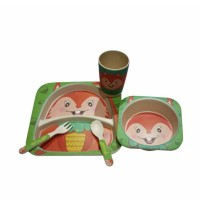 Yookidoo Natural Bamboo Fiber Eco Friendly Baby Feeding Picnic Set Squ