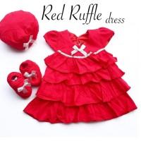 4pc@40.000 RED RUFFLE DRESS anak bayi dress murah dress lucu