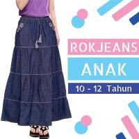 Rok Anak Jeans Panjang Model Sancai Usia 10-12tahun - Biru Muda