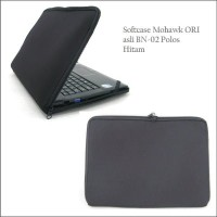 NEW - Tas Laptop Mohawk BN02 Ukuran 10-15 Inch Softcase Polos Black