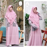 Tazkia Stripe Dhikr batch 2 by Fenuza / Dusty Pink / Gamis Casual
