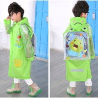 [ kids ] Jas Hujan Anak motif GREEN KEROPI Dengan ruang ransel