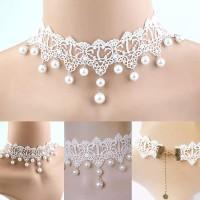 Kalung Choker A122 Lace Pearl White Wedding Choker