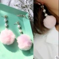 Anting Pinky Pom Pom Fur Ball Drop Earring - Merah Muda
