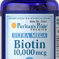 Biotin puritans pride 10000mcg isi 100 tablet softgels original