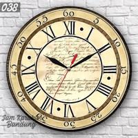 038 Jam Dinding Kayu Unik Angka Romawi Motif Vintage Classic Retro
