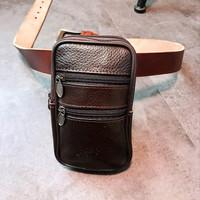 tas pinggang sarung case hp kulit leather waistbag import 6 6.5 inch
