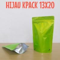 kemasan pouch hijau ukuran 13x20 zipper